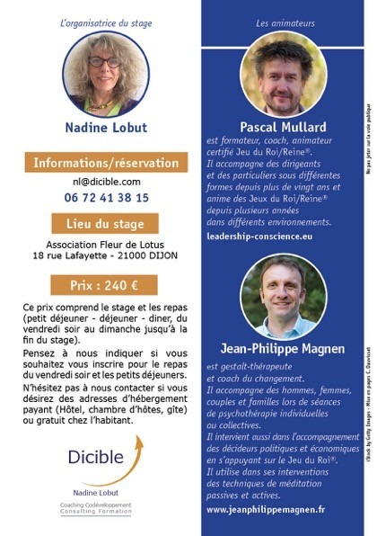 Flyer Stage Dicible Jeu Roi Reine verso